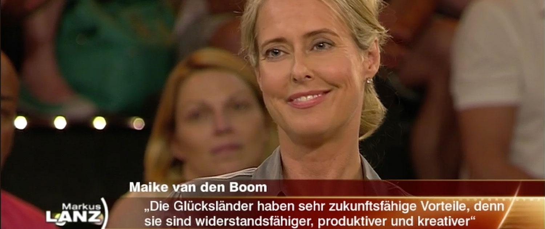 Maike van den Boom, Studio, TV, ZDF, Lanz, Talkshow, Skandinavien, Studiogast, Rednerin, Glücksforscherin