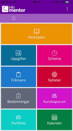 Screen-Shot der schwedischen Schul-App.