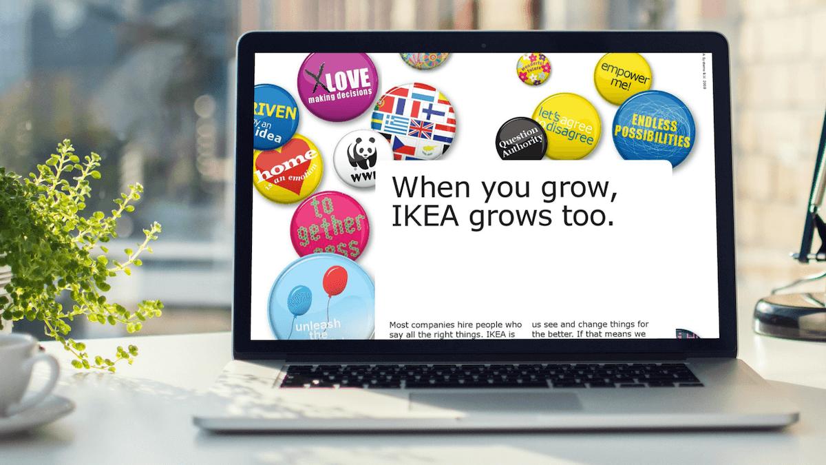 Bild von Laptop mit Spruch von Ikea.